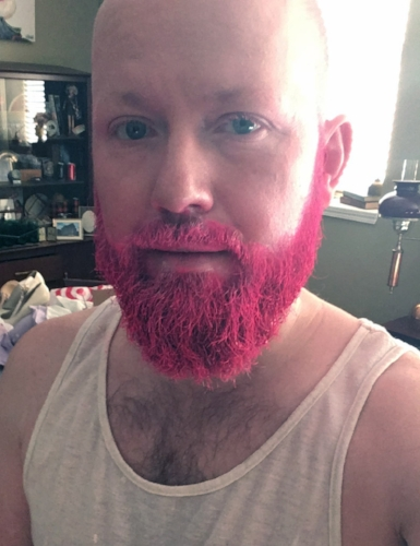 Next I gave the beard two layers of HOT PINK spray. I actually kinda wish my beard were always this color. Sigh...