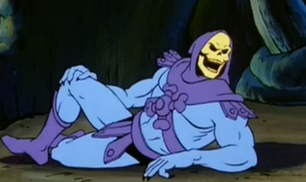 Skeletor in the animated series, here he is giving a very sexy, Burt Reynolds style pose. Awwww yeah...