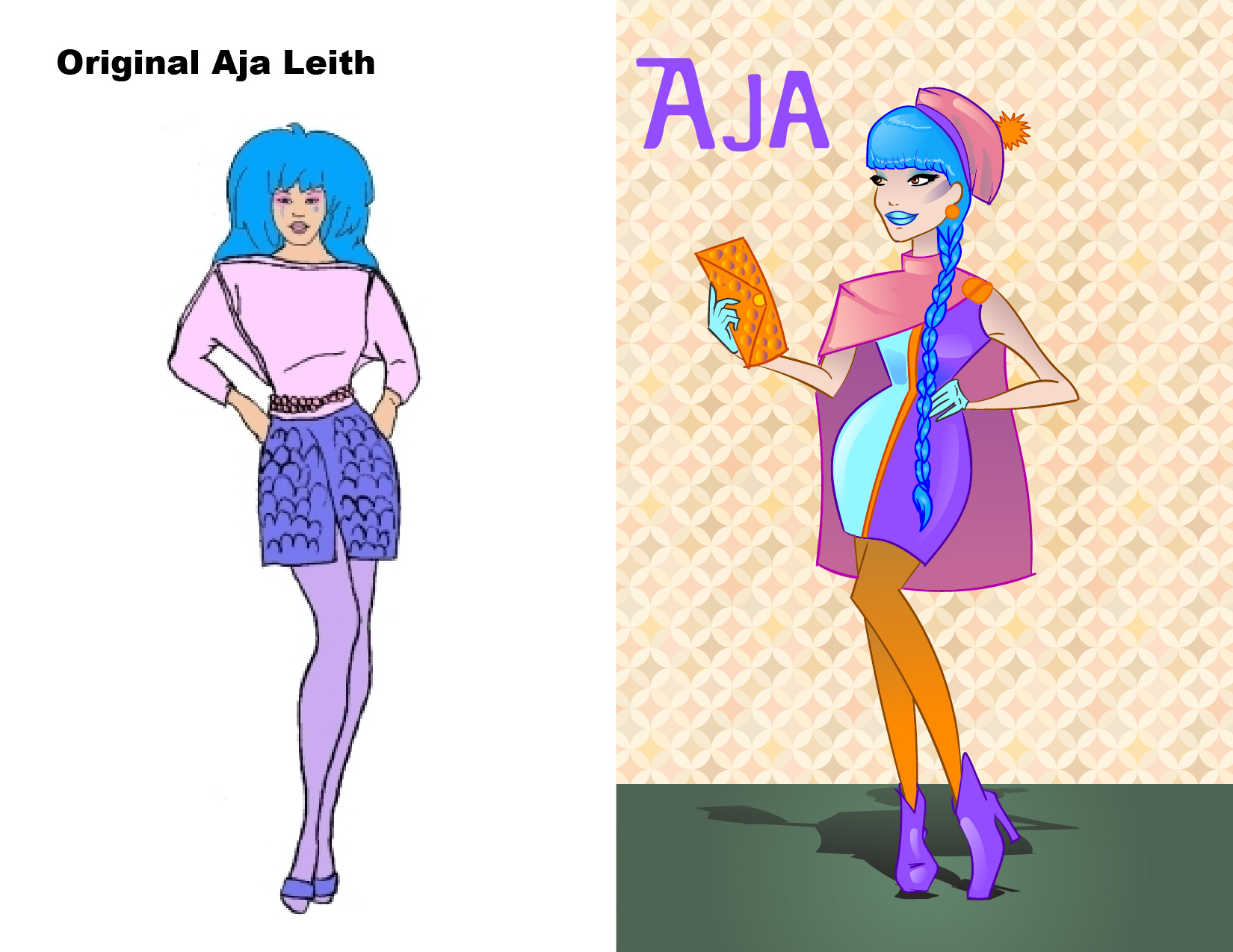 First up is Aja Leith, Jem's friend and lead guitar player. There was an episode where she wore a beret and I really dug it, so I gave her a nice clean mod look with a pom pom adorned beret and a stylish cape. Show them how it's done, Aja!!