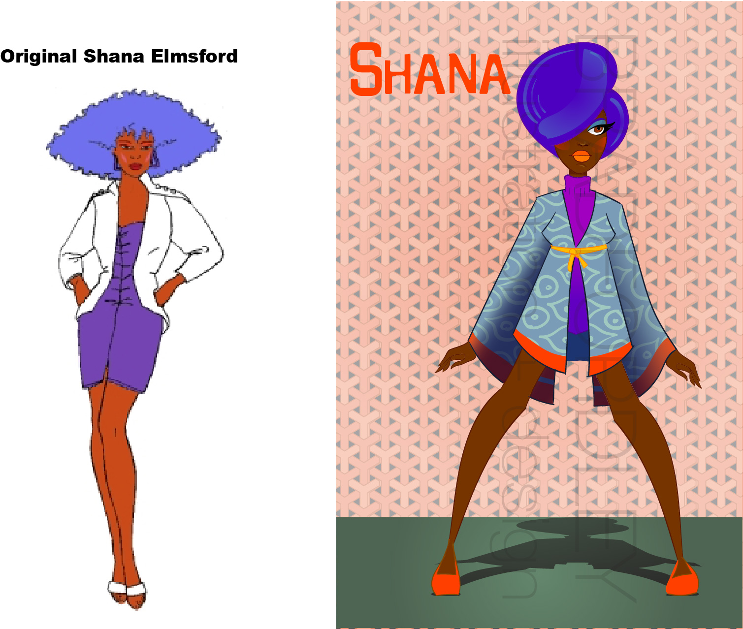 Next up, Shana Elmsford, the fashion mogul and drummer for Jem and the Holograms (later the bass guitarist upon her return, she leaves for a bit to pursue her fashion design dreams and they replace her, the DRAMA!!!) For a fashion designer, she often wore some drab looks, but I always loved her hair. I wanted to make her one of the more fashion forward with a stylish mod kimono with a funky print and a sleek asymmetrical up-do. This Shana takes chances and is not afraid of a good orange blush and blue eye shadow combo. Don't come for her unless she sends for you!