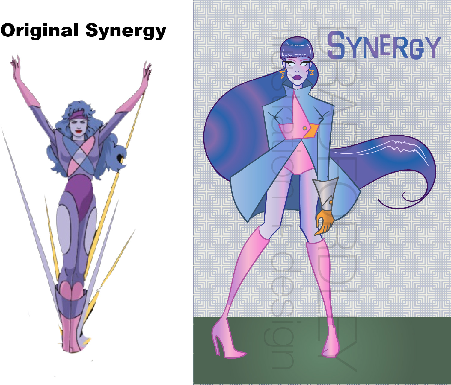 How would Jem's supercomputer Synergy look in the 60s? I imagined she'd take the fashion and push it to the extreme. Plus she always kinda had a Superhero look, so I gave it some of that as well. I'm also in LOVE with fashion sketches from this era and I imagined Synergy as being a sort of walking fashion sketch.