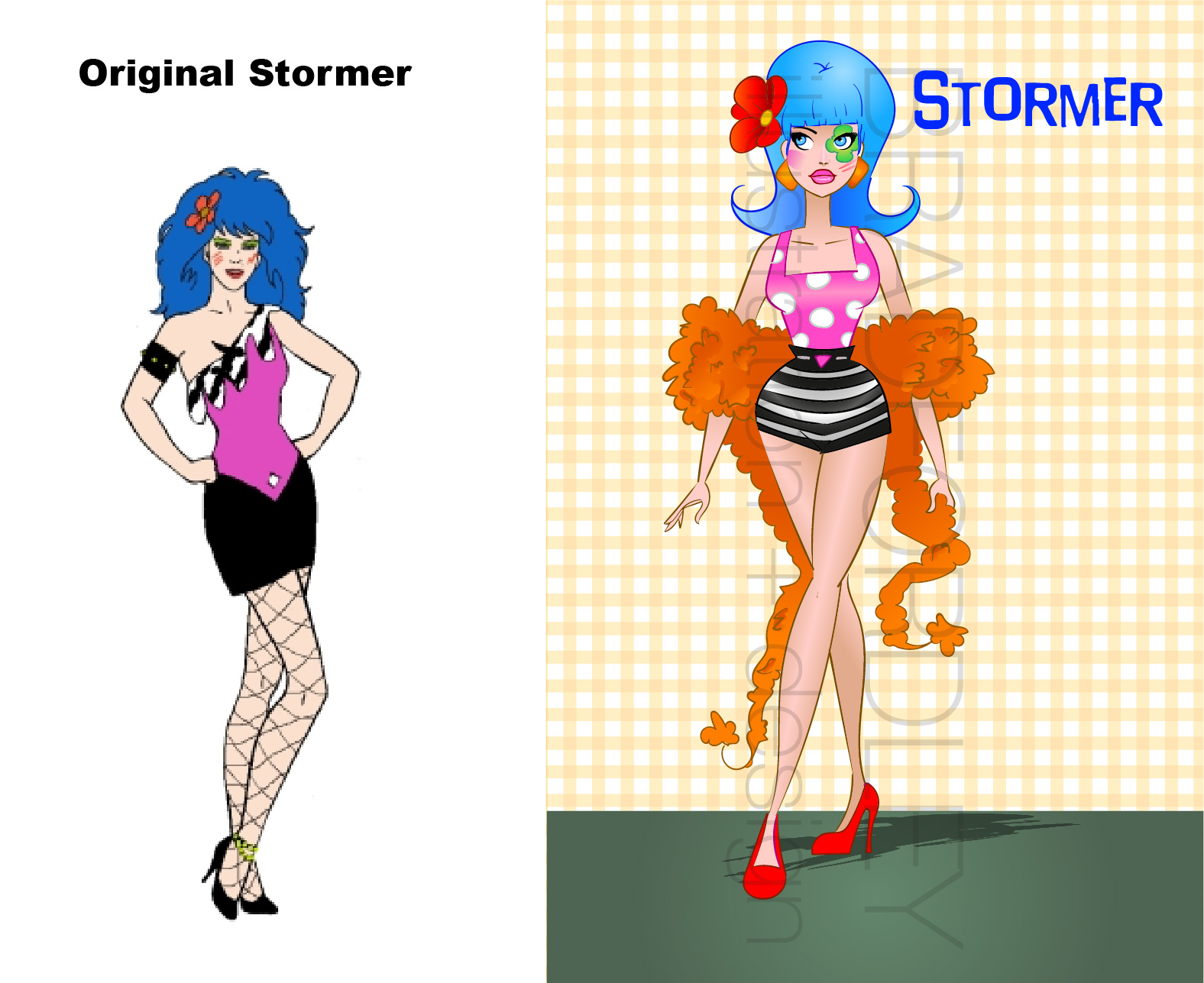 """Now we have one of my FAVORITE Jem characters, Mary Phillips, also known as Stormer! The flower in her hair reminded me of a 60s beach party, so I went a little off script with her and kept it in the 60s but married mod style with 60s beach fashion. And then I gave her a large orange boa, because I thought it went well, and she's giving us a very """"laugh in"""" era look with the flower over the eye. Get it Mary Phillips!! This was probably one of my favorites to create."""