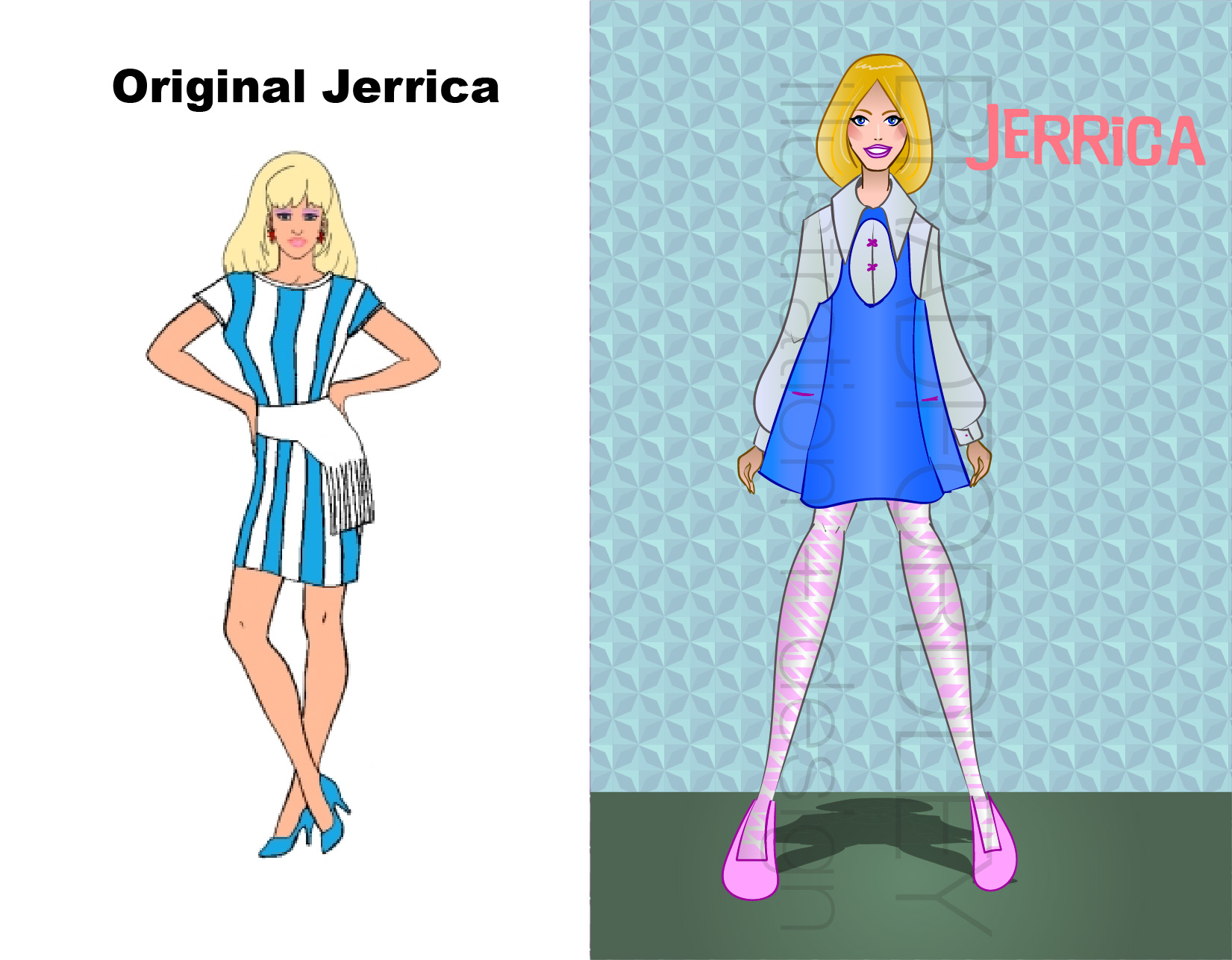 """Here's our titular lady herself, only when she's not disguised as Jem. I wanted to really differentiate the two a bit more than the cartoon did. It also gave me the chance to do a less """"outrageous"""" look and something more casual, and I'm pleased with the look. I also really dialed back the makeup.Now Jerrica, tell Rio you're Jem already, jeez."""