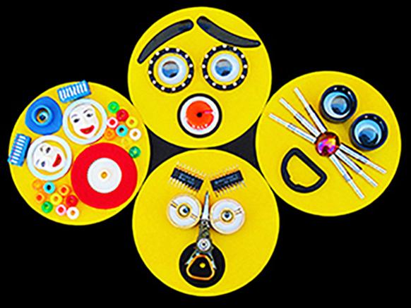 "EmojiBots , reclaimed materials and acrylic on card stock, each 4"" tondo"