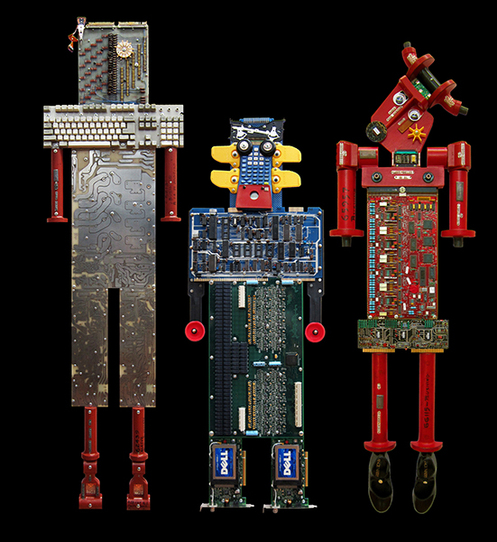 "Artbots:      Silver Onesie,  60"" x 18"" x 2""  Blue Blondell,  36"" x 13"" x 2""  Ruby Tap-Toes,  52"" x 17"" x 2"""