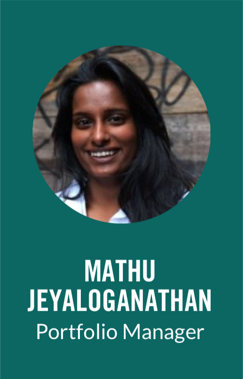 Mathu Jeyaloganathan is a Portfolio Manager with World Vision Canada. Prior to joining World Vision, Mathu was a Business Analyst with Purpose Capital, a boutique consulting where she worked in the Investment Advisory and Social Enterprise Strategy practices. Mathu has worked with corporate, community, and private foundations as well as family offices in developing and refining their impact investment strategies and with municipalities, foundations and large scale social enterprises in helping them create sustainable business models that personify their impact. Mathu holds a BA (Honours) in Business Administration from the Richard Ivey School of Business at the University of Western Ontario.