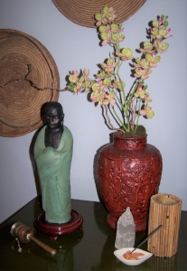 Place altars dedicated to Peace in your go-to relaxation spots, as well as, places of high stress to combat issues with anxiety, fear, and anger.   Buddha  , calming incense, and music are excellent additions.