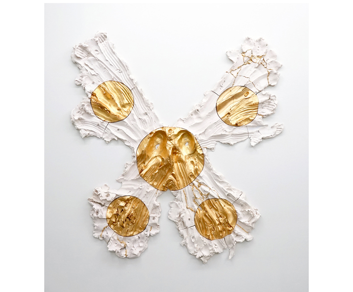"BRIE RUAIS  Spreading Out from Center in Five Directions (Premonition of a Butterfly), 130lbs , 2016, ceramic, gold leaf, hardware, 66"" x 60"" x 3.5"""