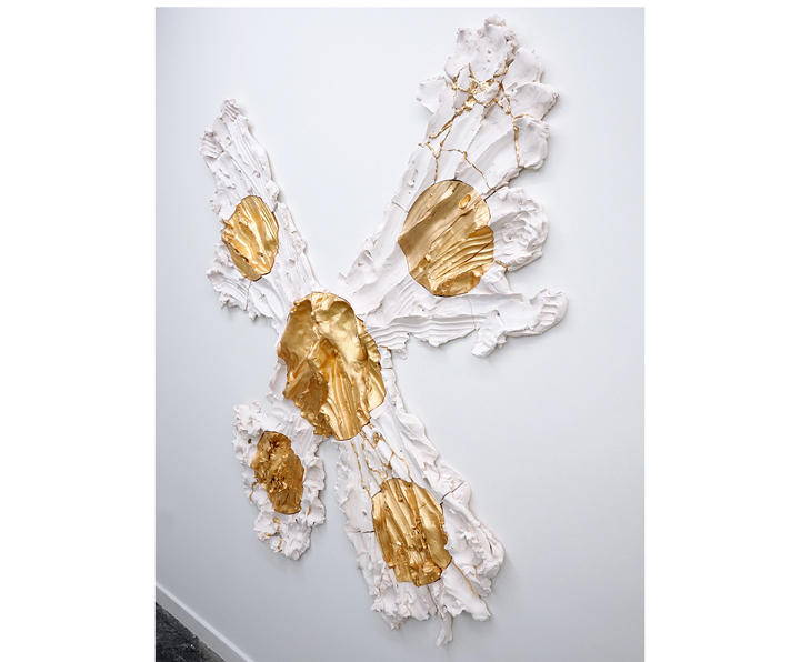 "BRIE RUAIS  (side view) Spreading Out from Center in Five Directions (Premonition of a Butterfly), 130lbs , 2016, ceramic, gold leaf, hardware, 66"" x 60"" x 3.5"""