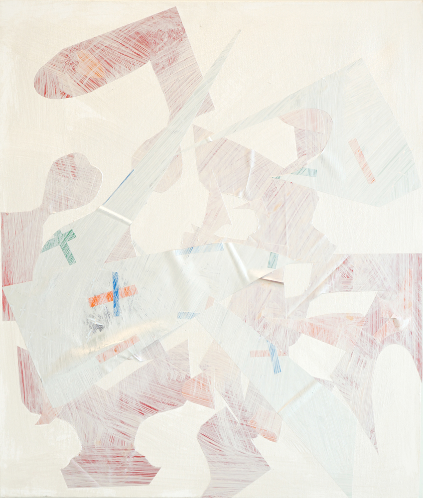 "PATRICK BRENNAN  e-z wider - e-z rider, 2012, mylar and acrylic on canvas, 24"" x 20"""