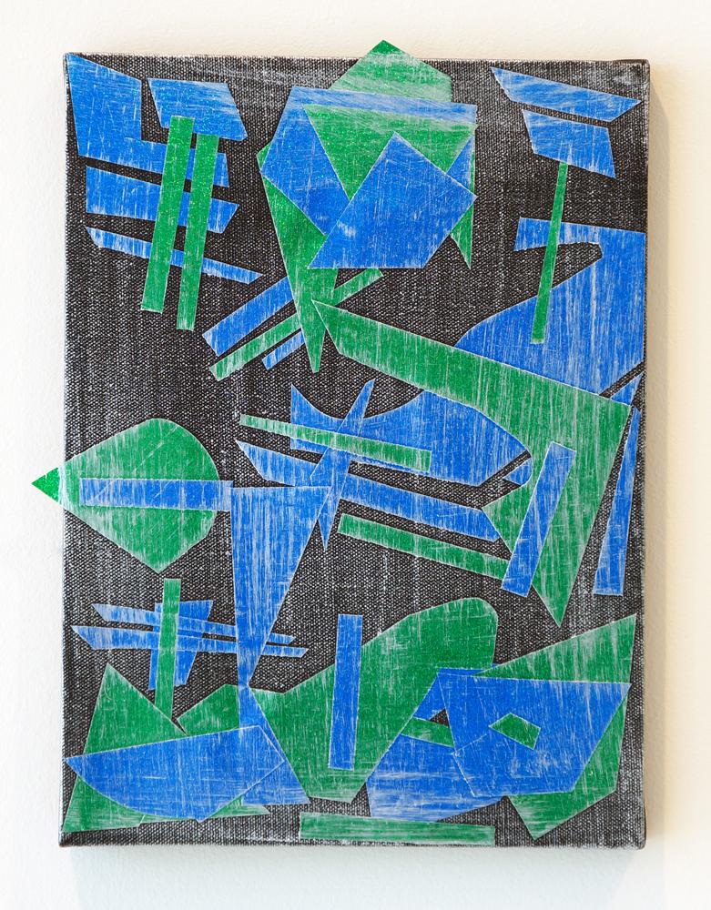 "PATRICK BRENNAN Build Your City, 2012, mylar and acrylic on canvas, 12"" x 9"""