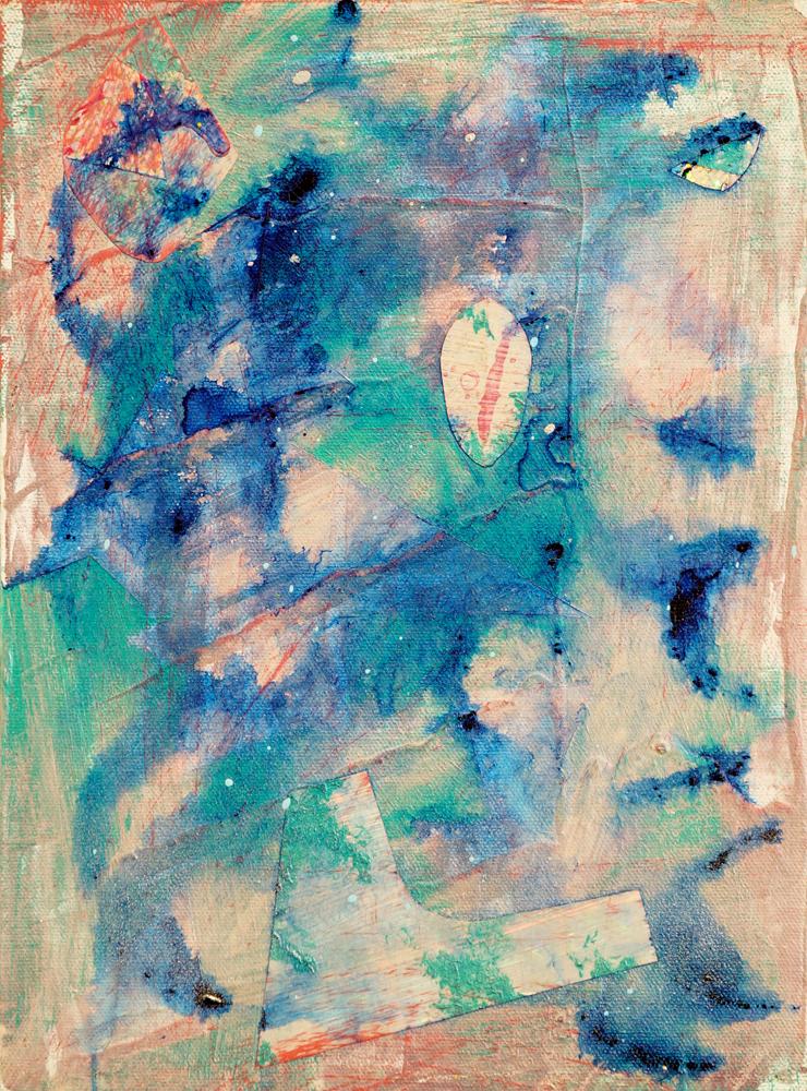 "PATRICK BRENNAN  Clouds, 2012, mylar and acrylic on canvas, 12"" x 9"""