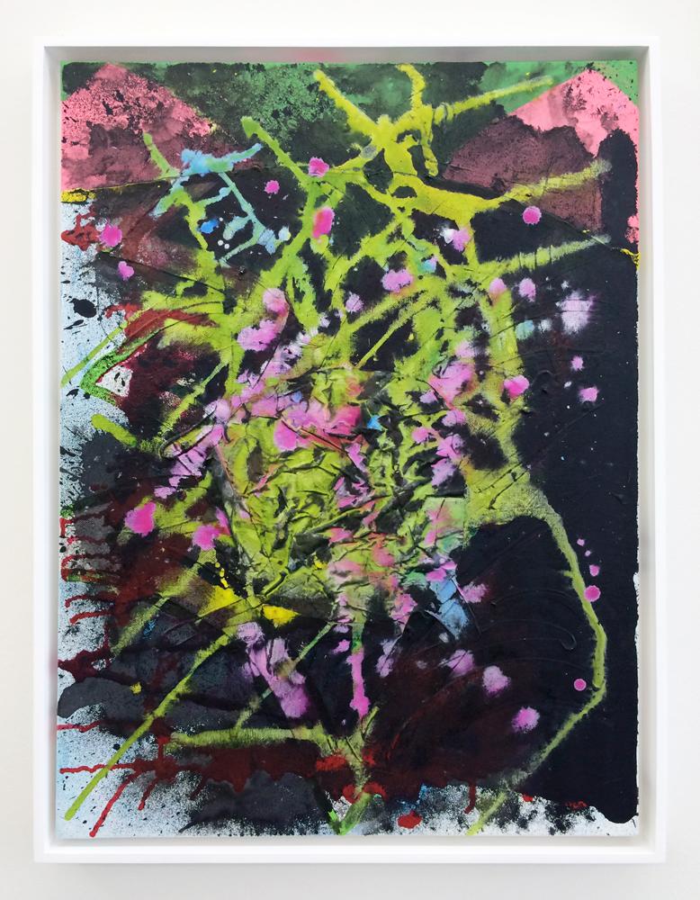 "PATRICK BRENNAN  Fireworks , 2014. acrylic and silk on canvas, 24"" x 18"""