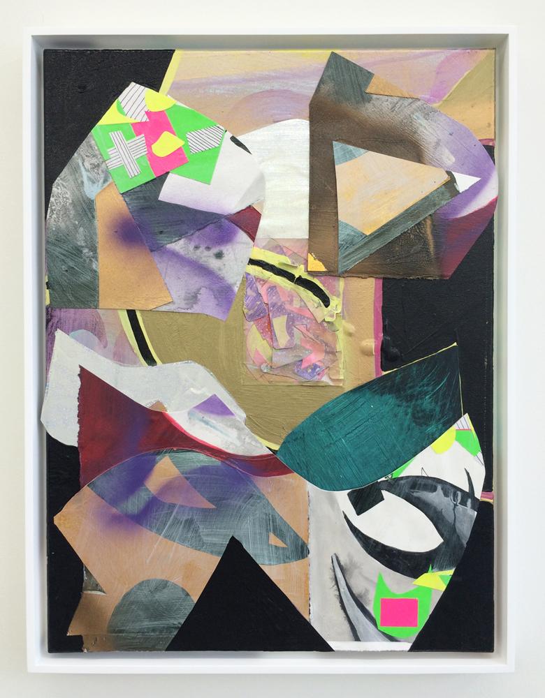 "PATRICK BRENNAN  Seneca Street (night) , 2014. acrylic, paper and mylar on canvas, 24"" x 18"""