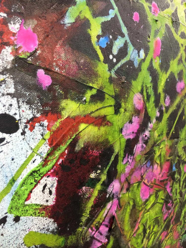 """(detail) Fireworks , 2014. acrylic and silk on canvas, 24"""" x 18"""""""