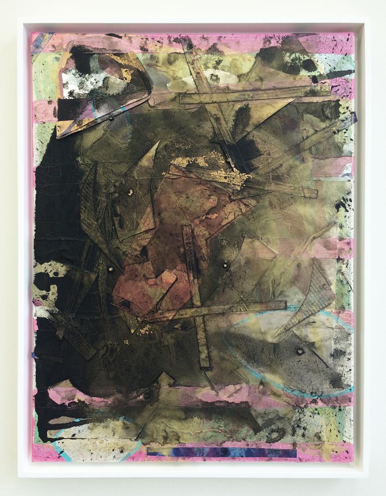 "Horizon Line , 2014. acrylic, paper and mylar on canvas, 24"" x 18"""