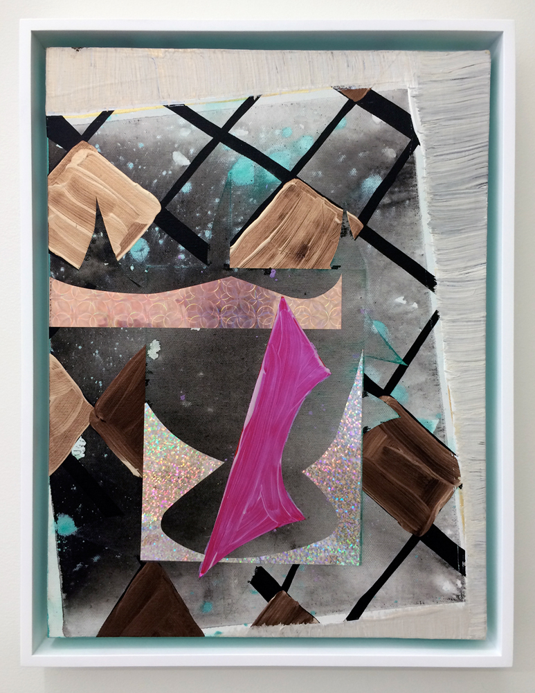 """Humble Friday , 2014. acrylic, paper and mylar on canvas, 16"""" x 12"""""""