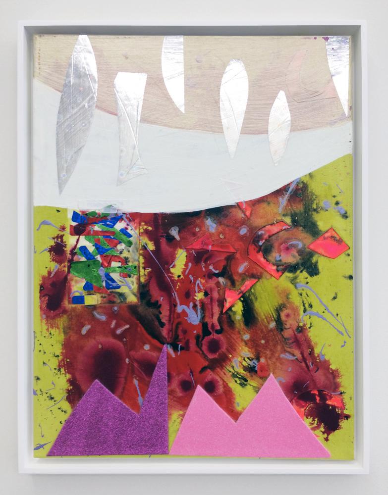 "Landing Spot , 2014. acrylic, foam and mylar on canvas, 24"" x 18"""