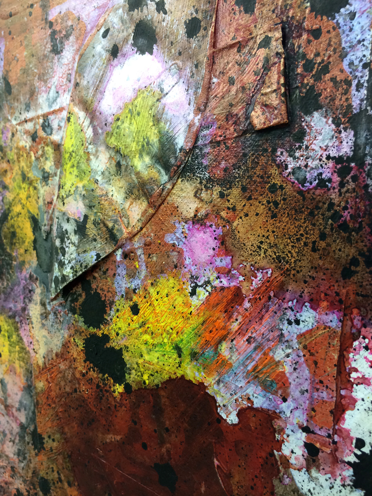 """(detail) Red Falls , 2014. acrylic and paper on canvas, 24"""" x 20"""""""