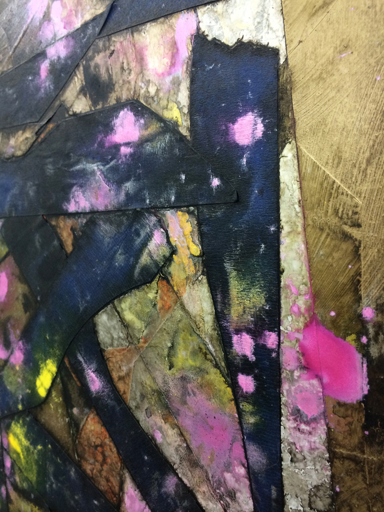 """(detail) Untitled , 2014. acrylic and tape on panel, 24"""" x 18"""""""