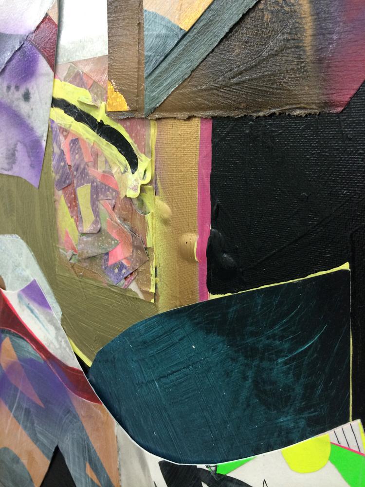 "(detail) Seneca Street (night) , 2014. acrylic, paper and mylar on canvas, 24"" x 18"""