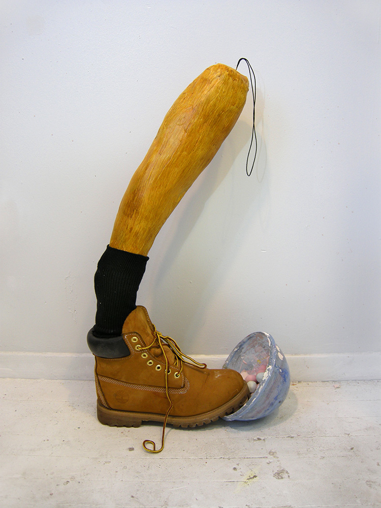 DERIC CARNER  Boot in Balls:  plaster, pigment, sock, thread, Timberland boot, plastic bowl, 2016, 24 x 9 x 5 inches
