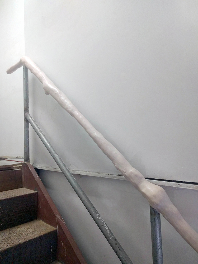 DERIC CARNER  Touch Railing,  Site specific installation, pigmented plaster and recycled materials, 2017