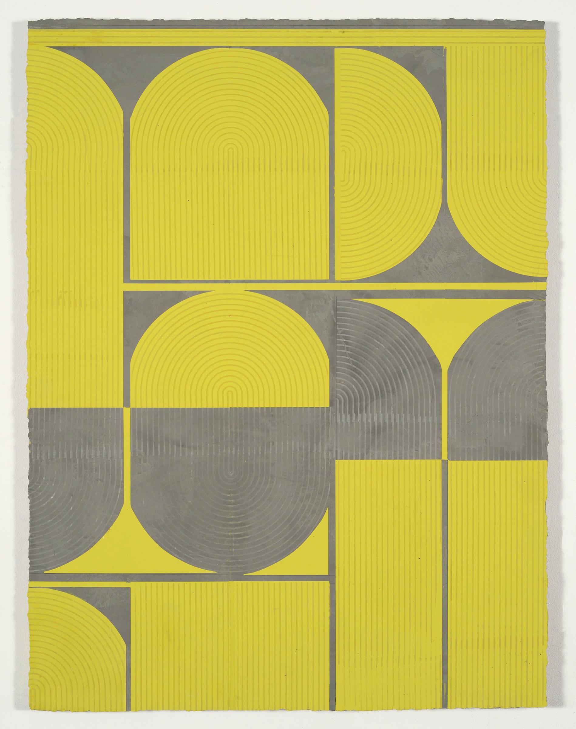 "ELISE FERGUSON   Citron , 2016, pigmented plaster on panel, 40"" x 30"""