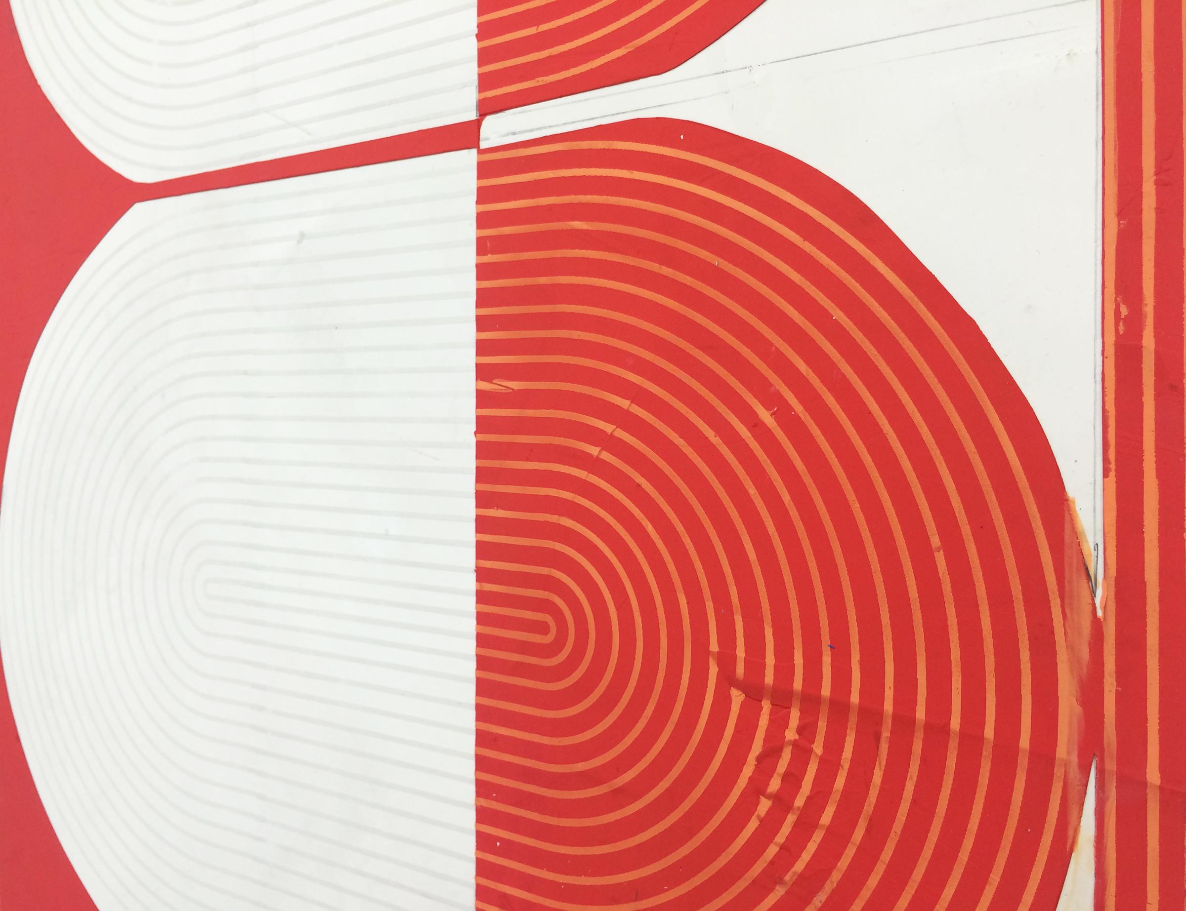 "ELISE FERGUSON  (detail) Deuce , 2016, pigmented plaster on panel, 30"" x 61"""