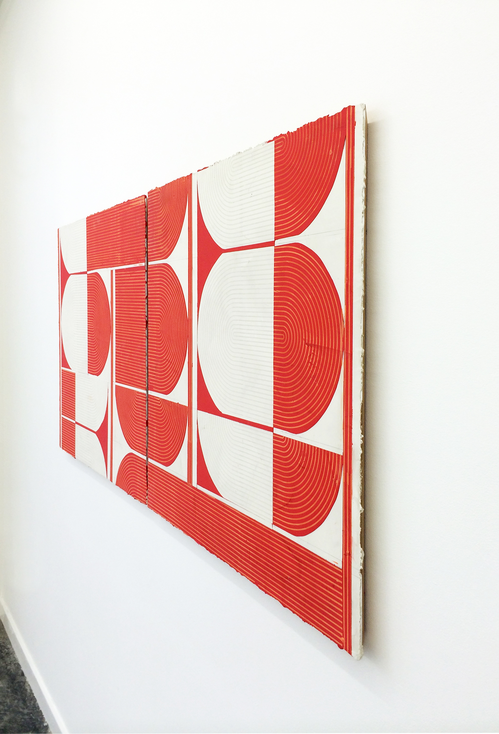"ELISE FERGUSON  (profile) Deuce , 2016, pigmented plaster on panel, 30"" x 61"""