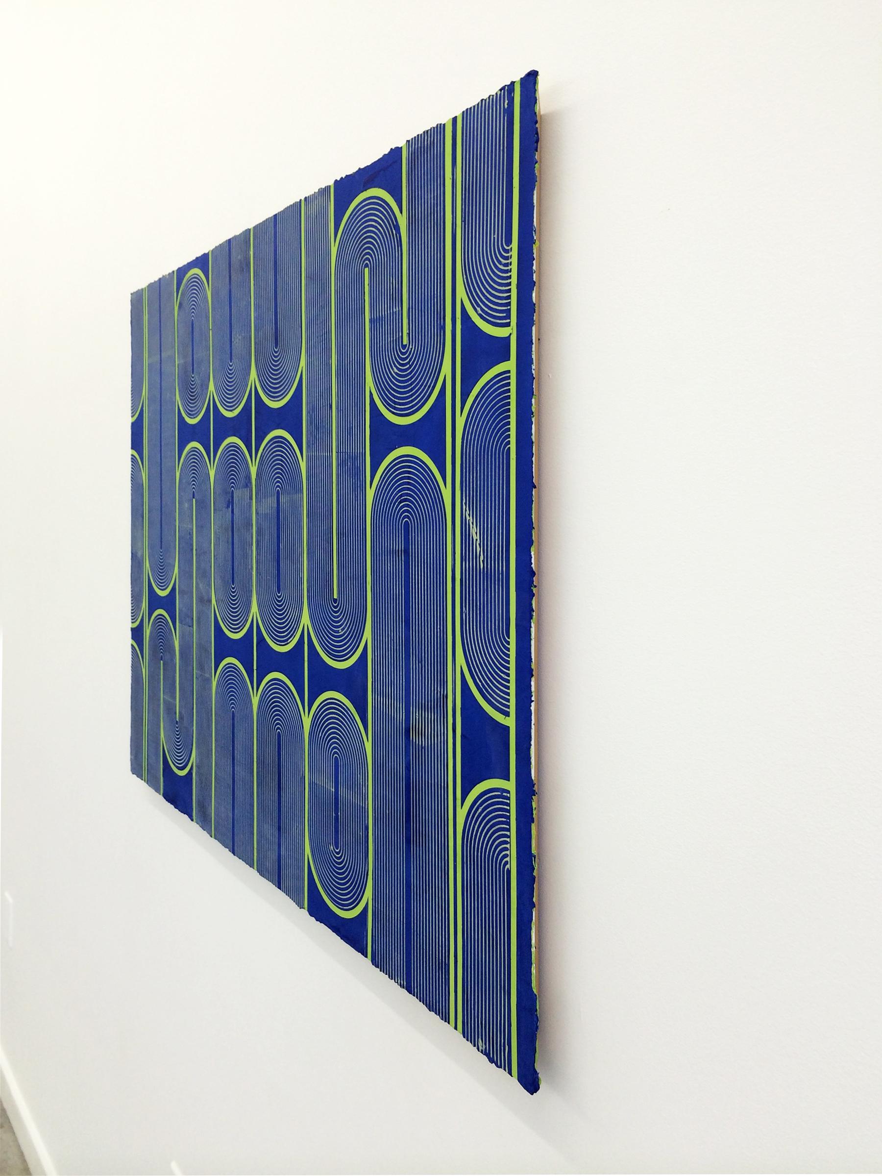 "ELISE FERGUSON  (profile) Vinyl Gate , 2016, pigmented plaster on panel, 30"" x 40"""