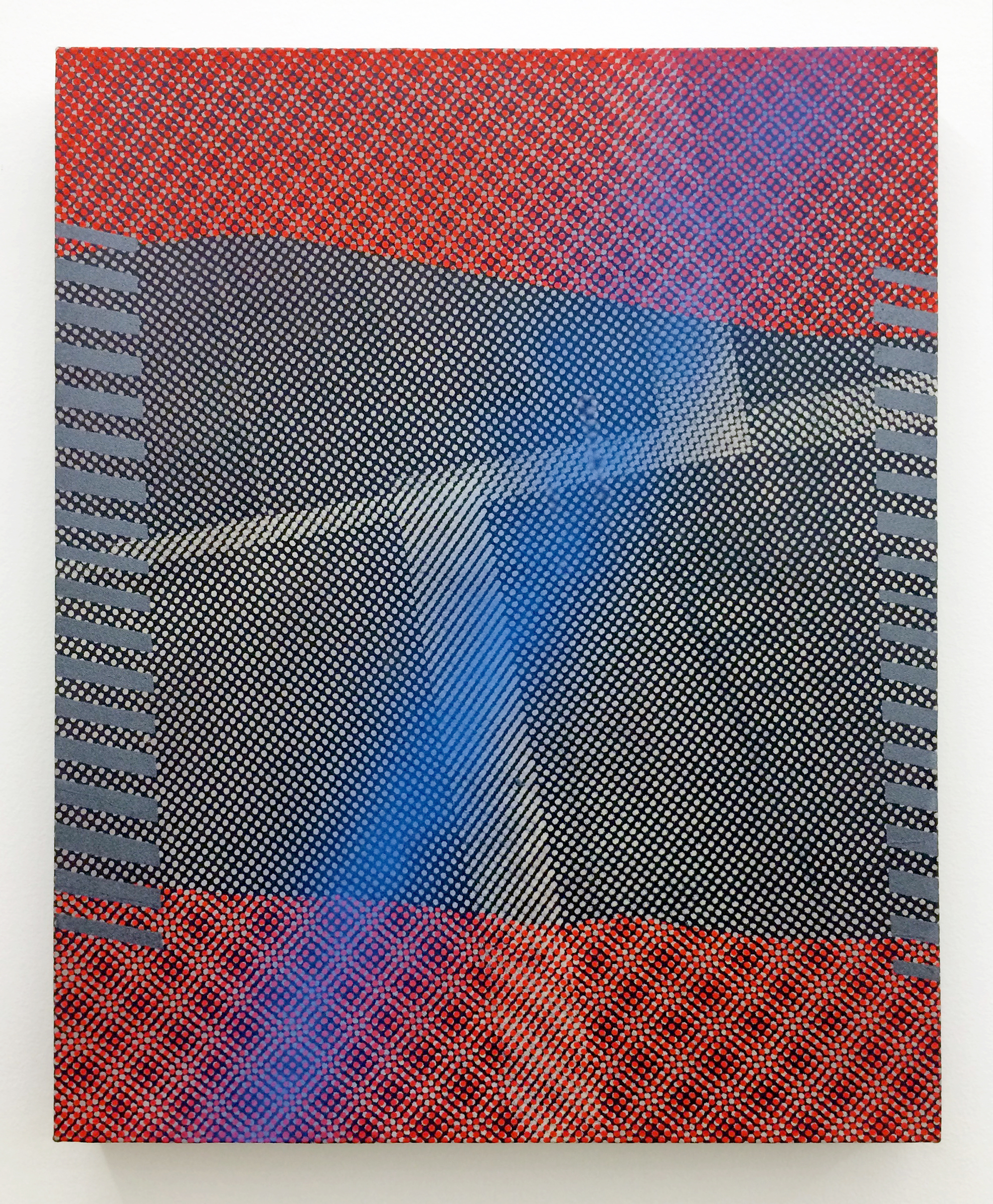 """AMANDA CURRERI   Giovanni's Room , 2016, fabric dye and remover, acrylic and rabbit skin glue on cotton mounted to panel, 24"""" x 19"""""""