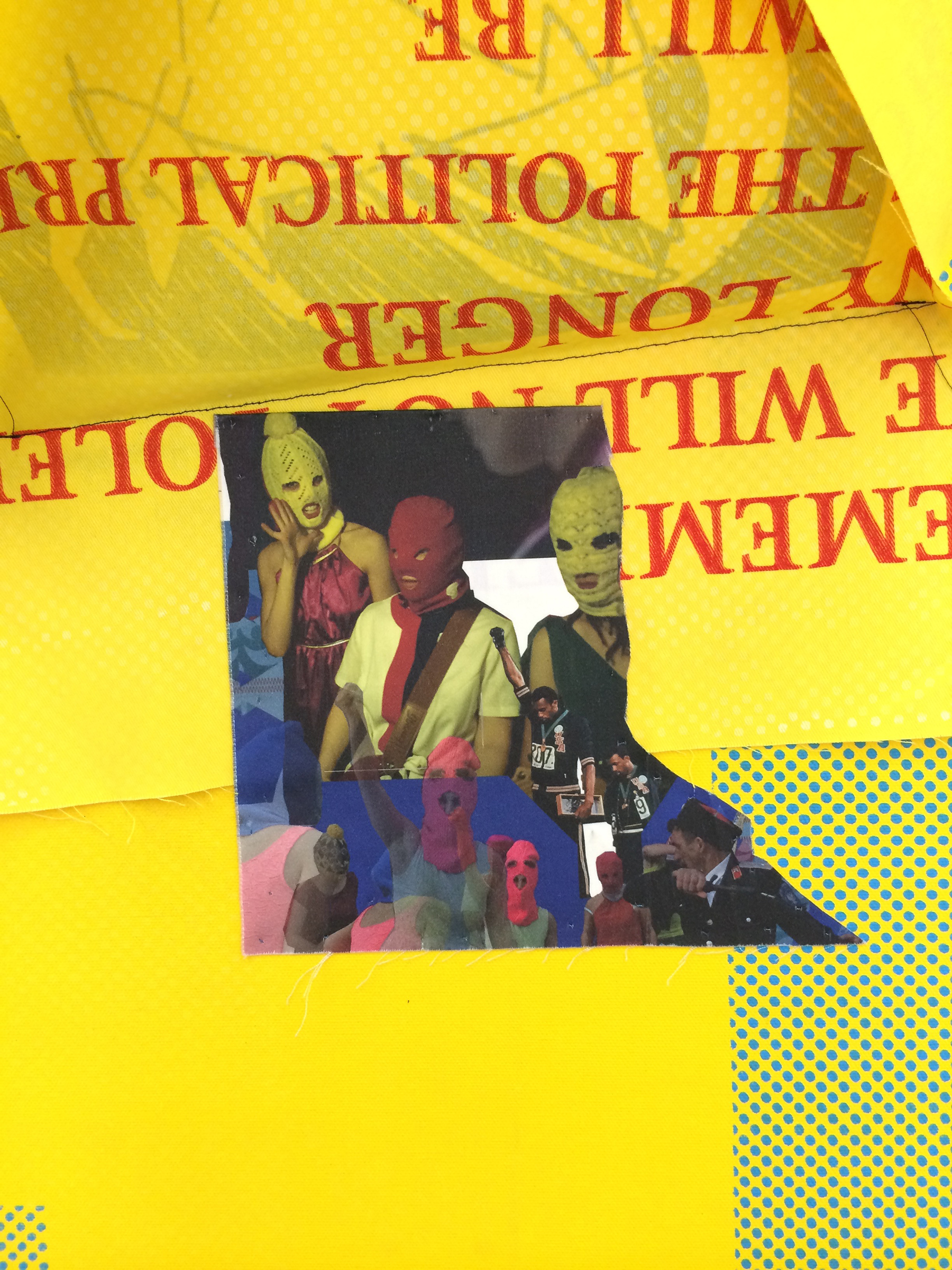 "AMANDA CURRERI  (detail under flap) Eff (Yellow) , 2016, acrylic and fabric dye on cotton, 78"" x 48"""