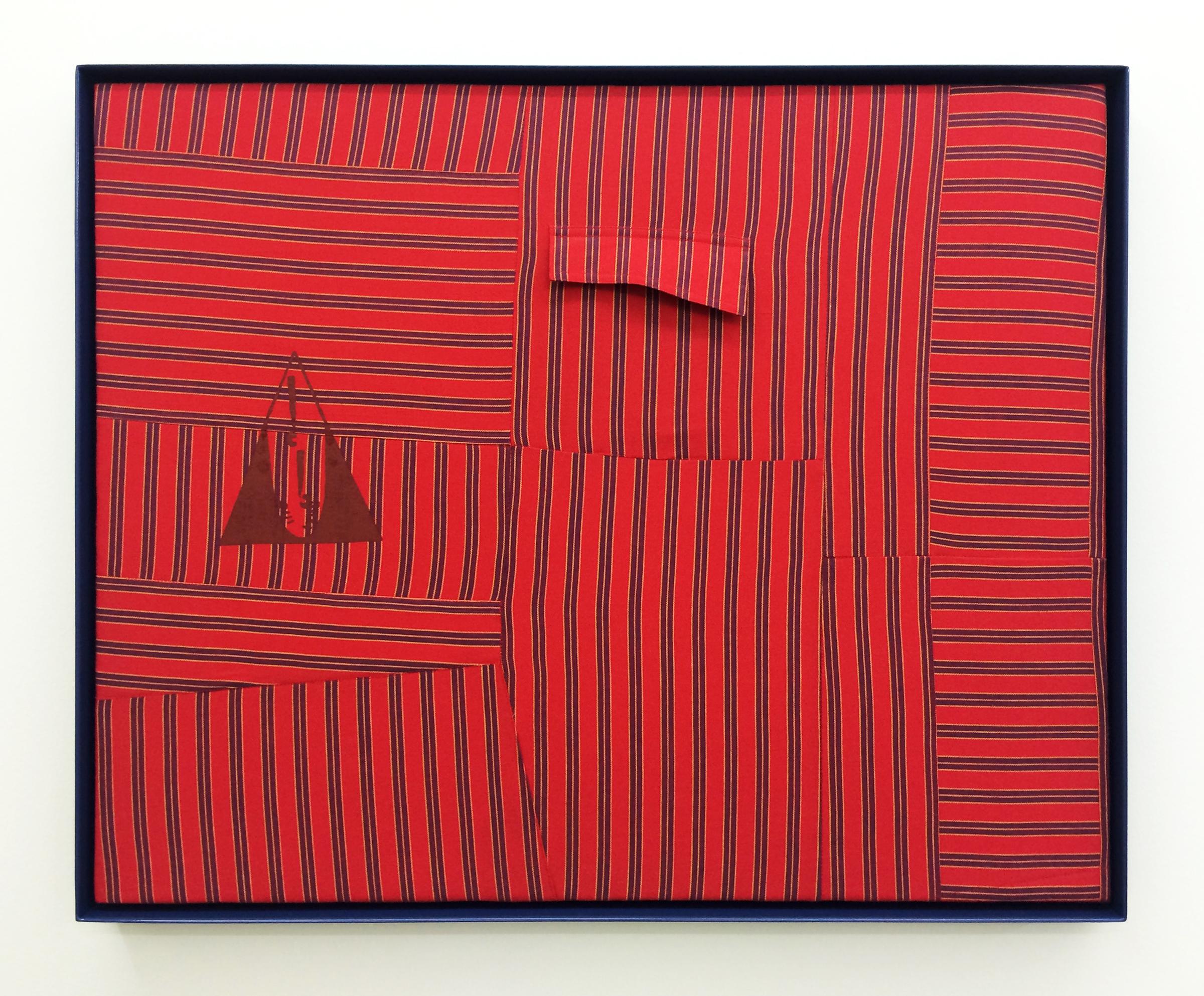 "AMANDA CURRERI   Qui Vive (Be Alert!), Red , 2016, vintage garment, acrylic, thread, cotton batting and powder coated aluminum frame, 24.5"" x 30.5"""
