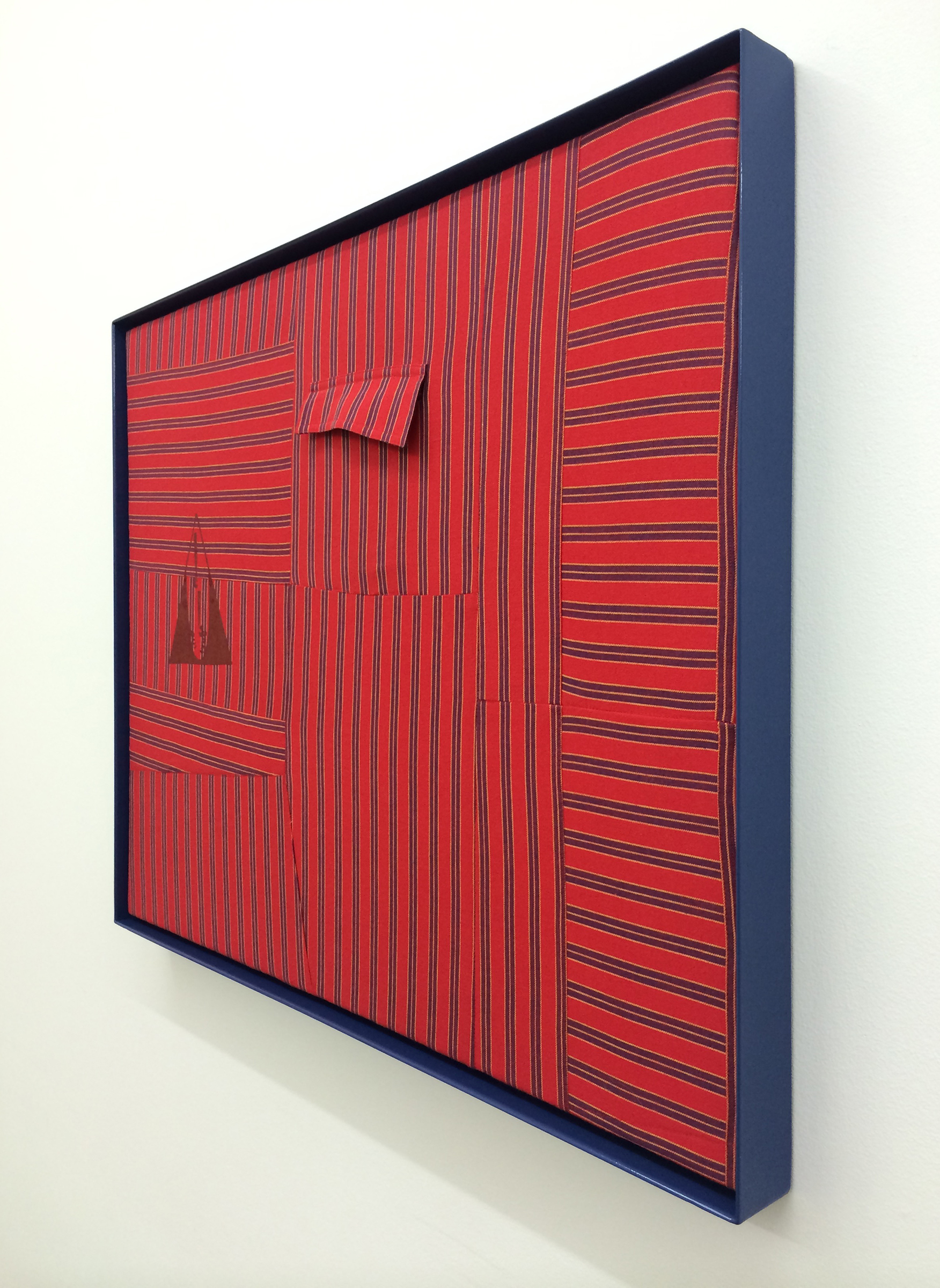 "AMANDA CURRERI  (alternate view) Qui Vive (Be Alert!), Red , 2016, vintage garment, acrylic, thread, cotton batting and powder coated aluminum frame, 24.5"" x 30.5"""