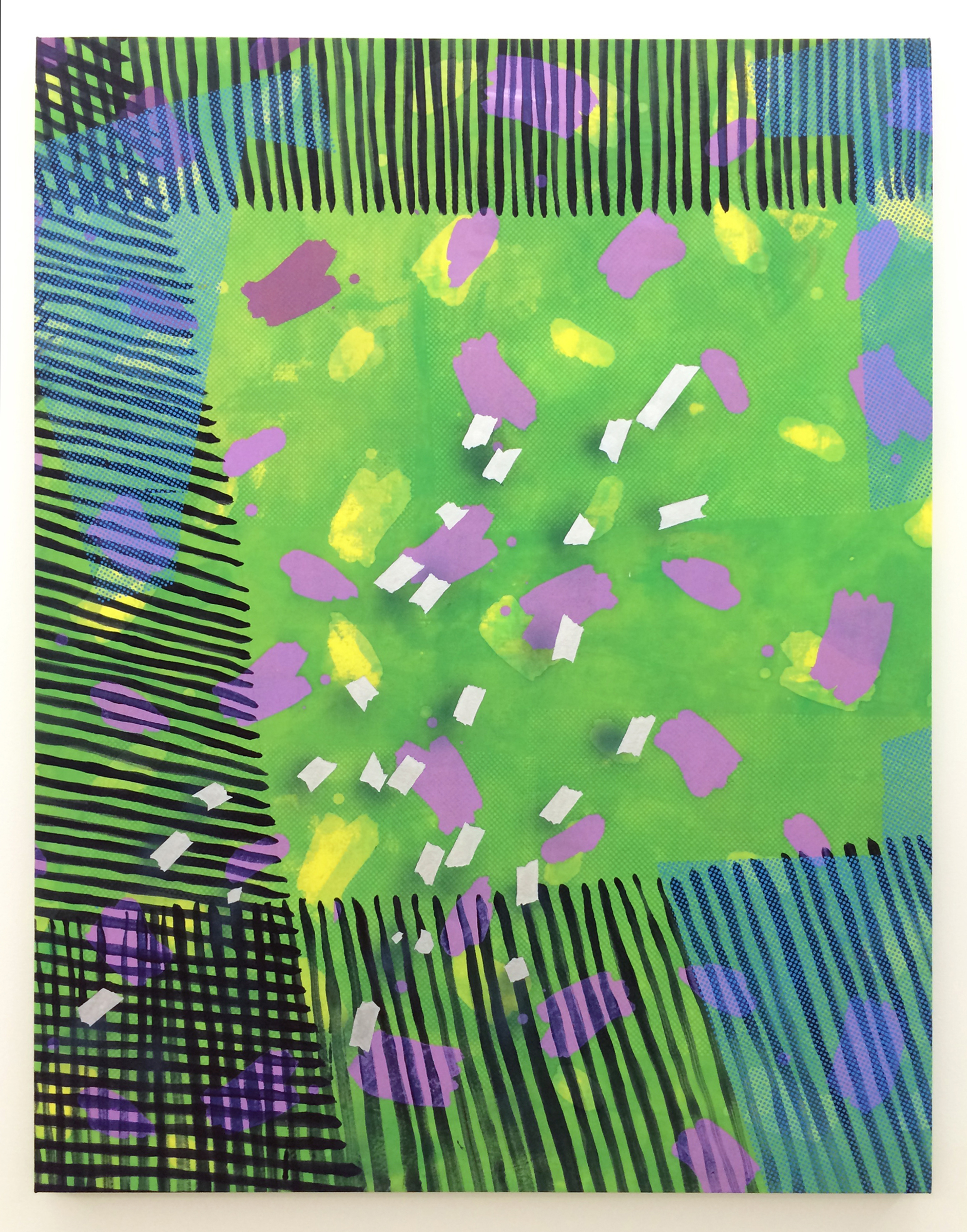 """AMANDA CURRERI   Kitty in the Middle , 2016, fabric dye and remover, acrylic on cotton, 54"""" x 42"""""""