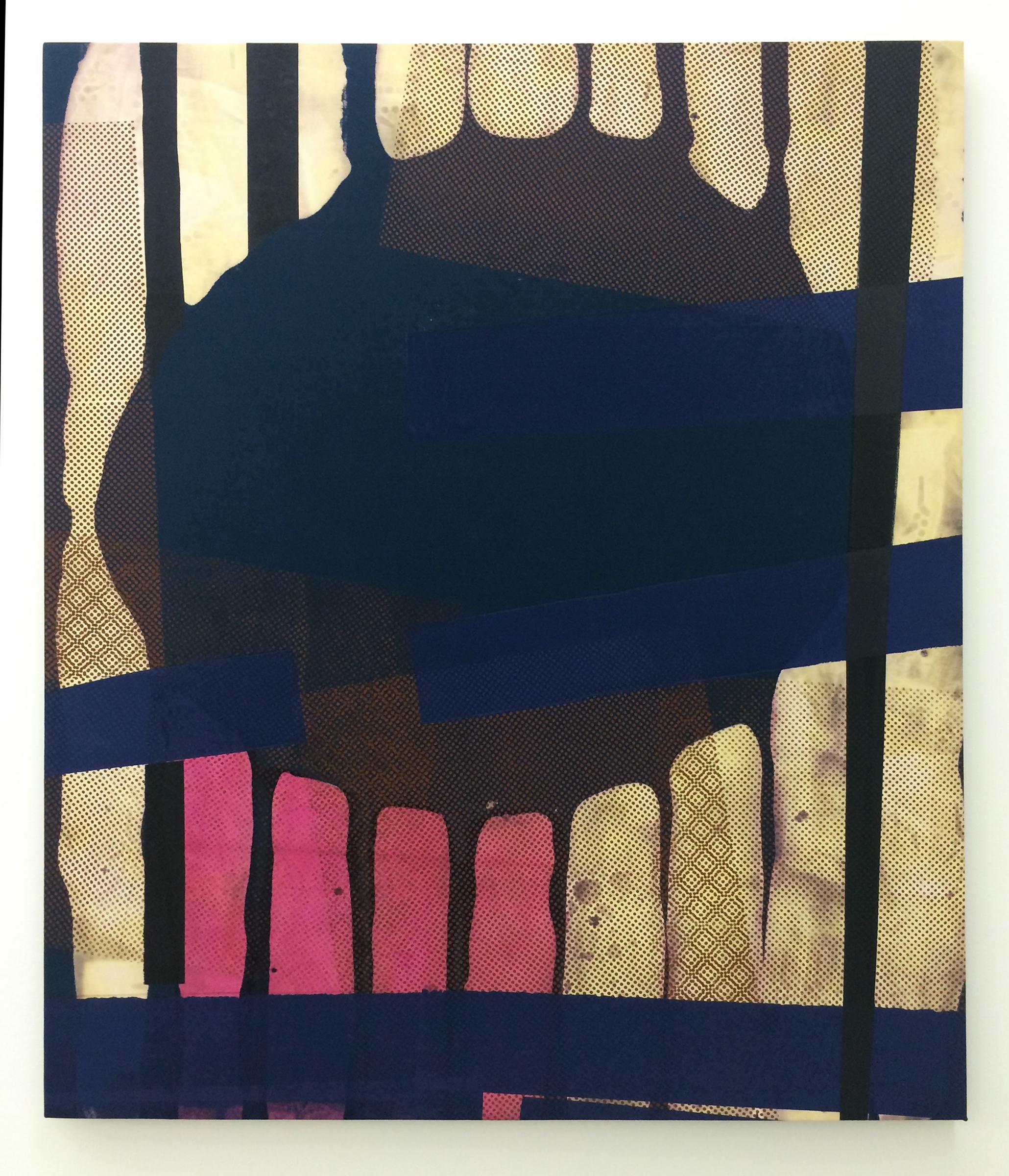 "AMANDA CURRERI   Moscas , 2016, fabric dye and remover, acrylic on cotton, 42"" x 36"""