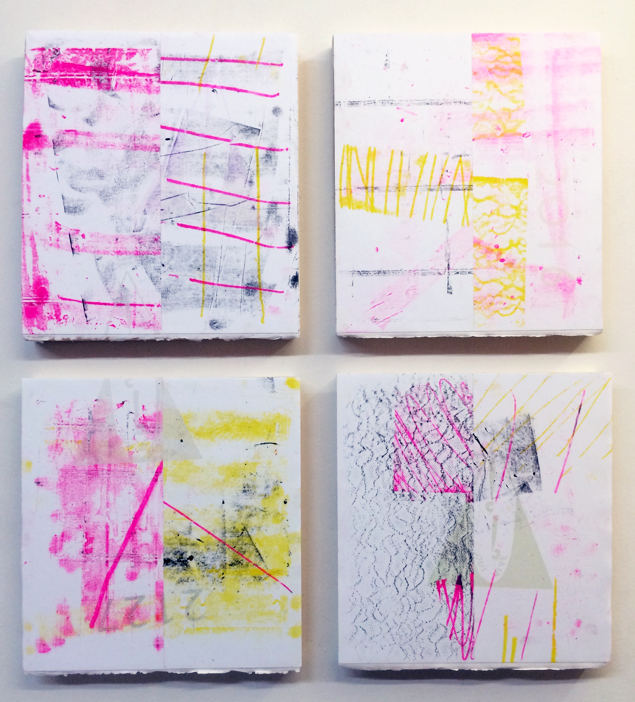 """AMANDA CURRERI   Eff (Time-Travel) 4 , 2016, monoprint, derigraph, glitter and dirt on paper mounted to panel, 23.5"""" x 21.5"""", (11"""" x 10 each)"""