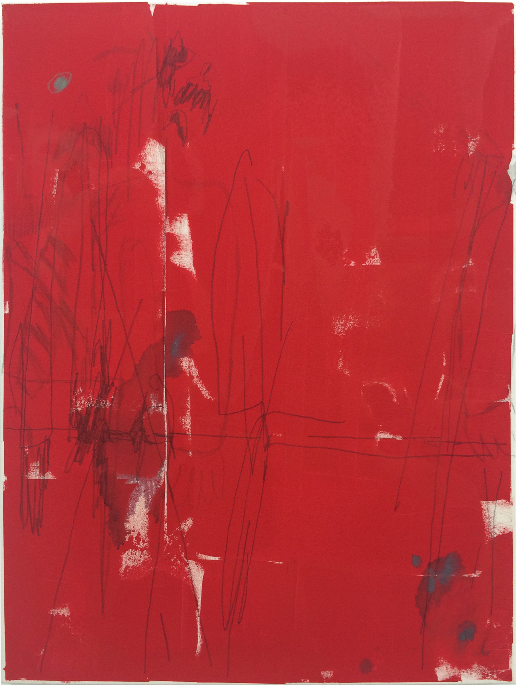 """TED GAHL   Commuters (Strangers' Hands Touching, Red) , 2015, oil, acrylic, graphite and colord pencil on canvas, 48"""" x 36"""""""