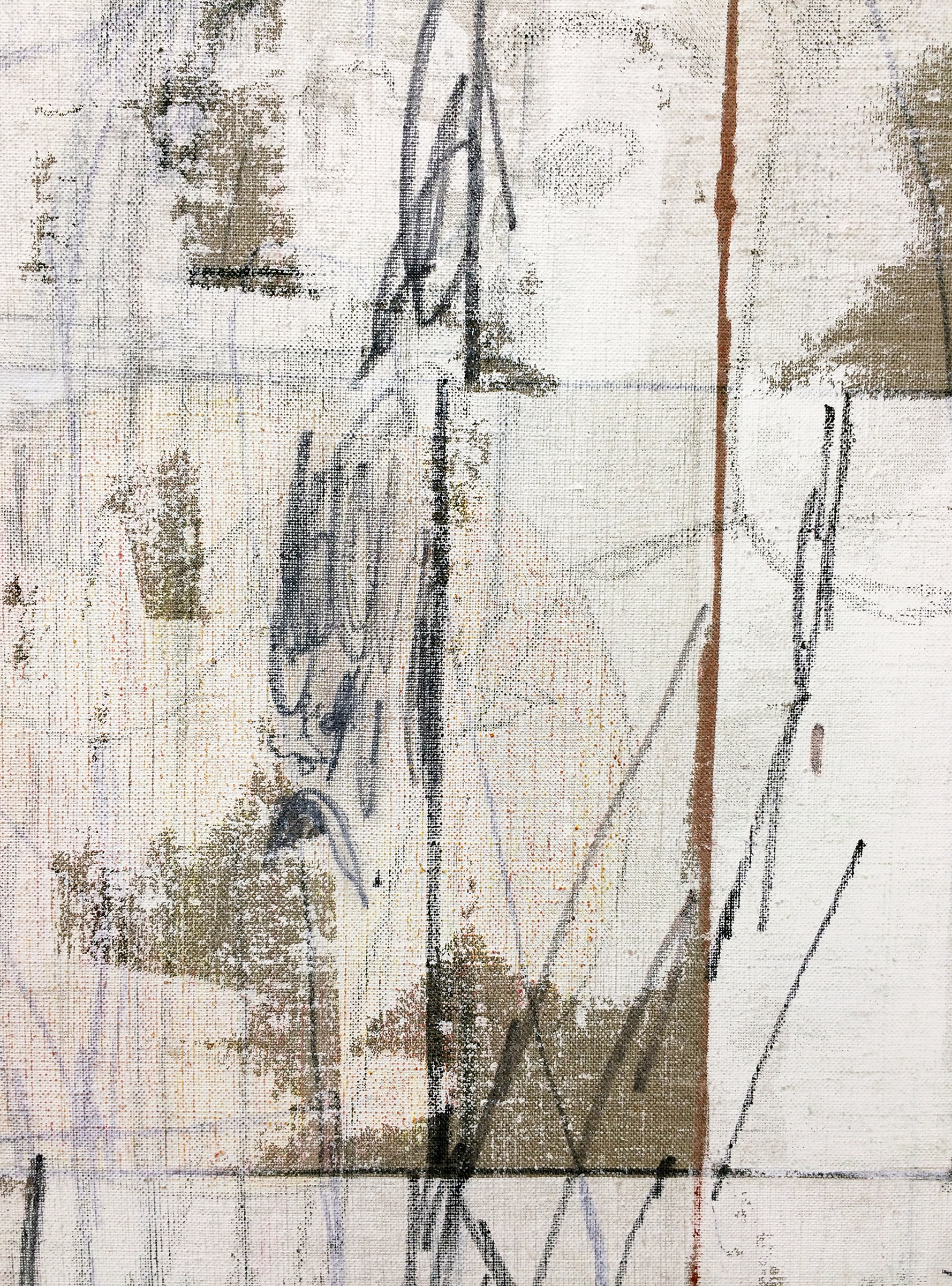 """TED GAHL  (detail) Commuters (Strangers' Hands Touching, White) , 2015, oil, acrylic, graphite and colored pencil on linen, 48"""" x 36"""""""