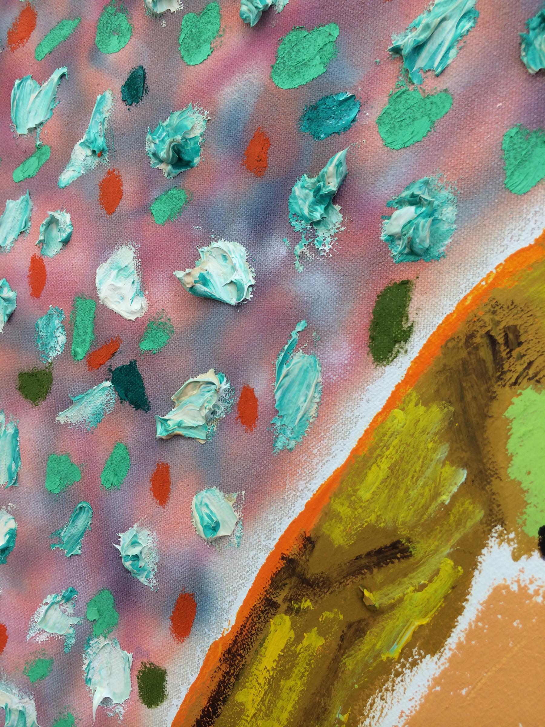"SHARA HUGHES  (detail) Hook Lake , 2015, oil, acrylic, chalk and airbrush on canvas, 60"" x 47.5"""