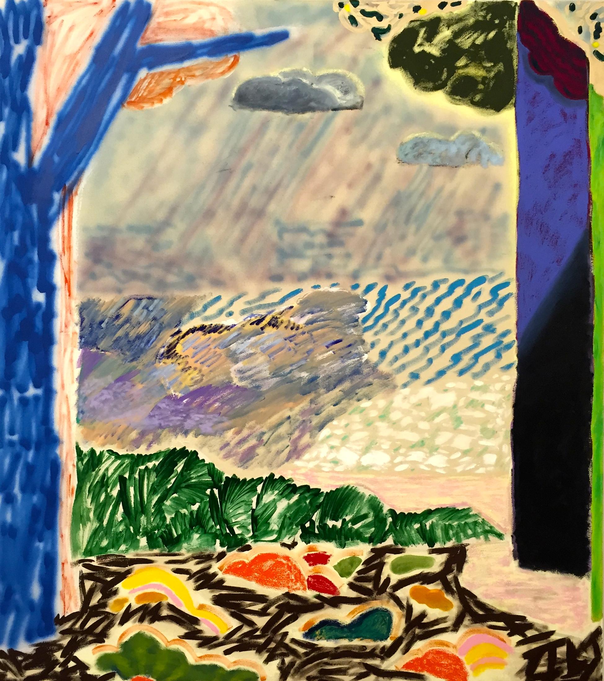 "SHARA HUGHES   Break Through , 2015, oil, acrylic, chalk and airbrush on canvas, 58"" x 48"""