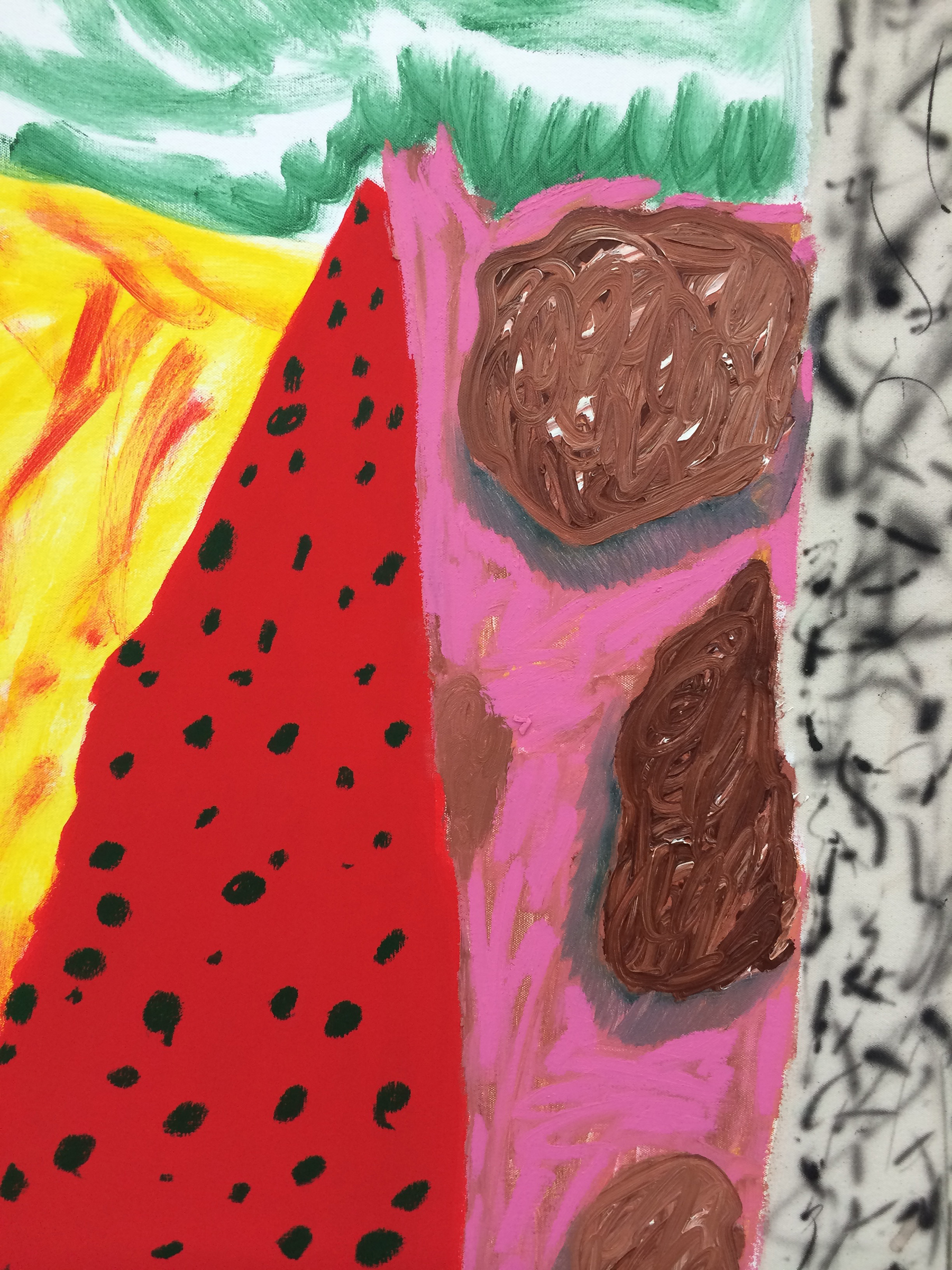 """SHARA HUGHES  (detail) Cave Home , 2015, oil, acrylic, chalk and airbrush on canvas, 58"""" x 48"""""""