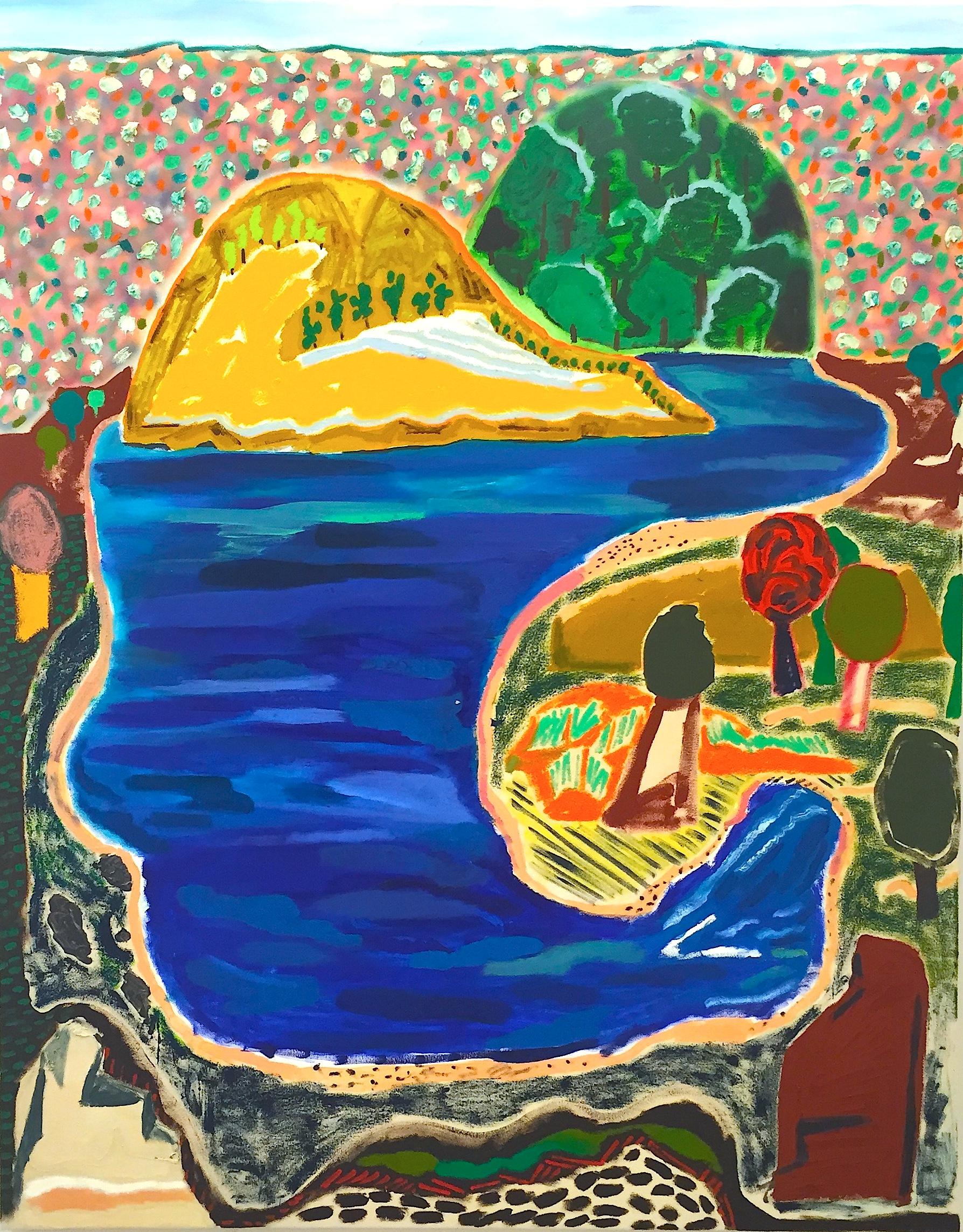 "SHARA HUGHES   Hook Lake , 2015, oil, acrylic, chalk and airbrush on canvas, 60"" x 47.5"""