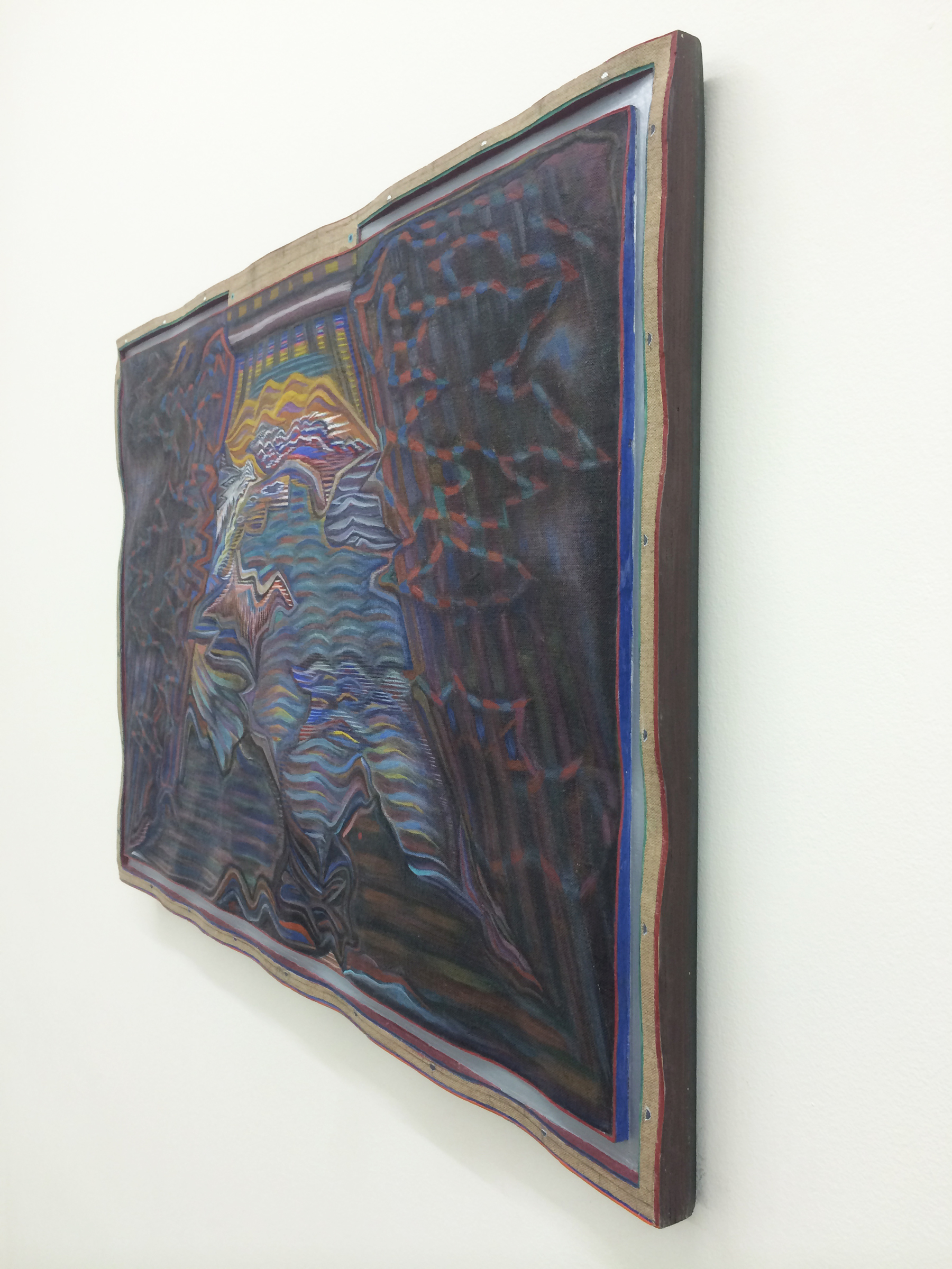 """ZACH HARRIS  (3/4 view) Picture Light , 2009-2013, water based paint, wood, linen, 21.75"""" x 30.25"""""""