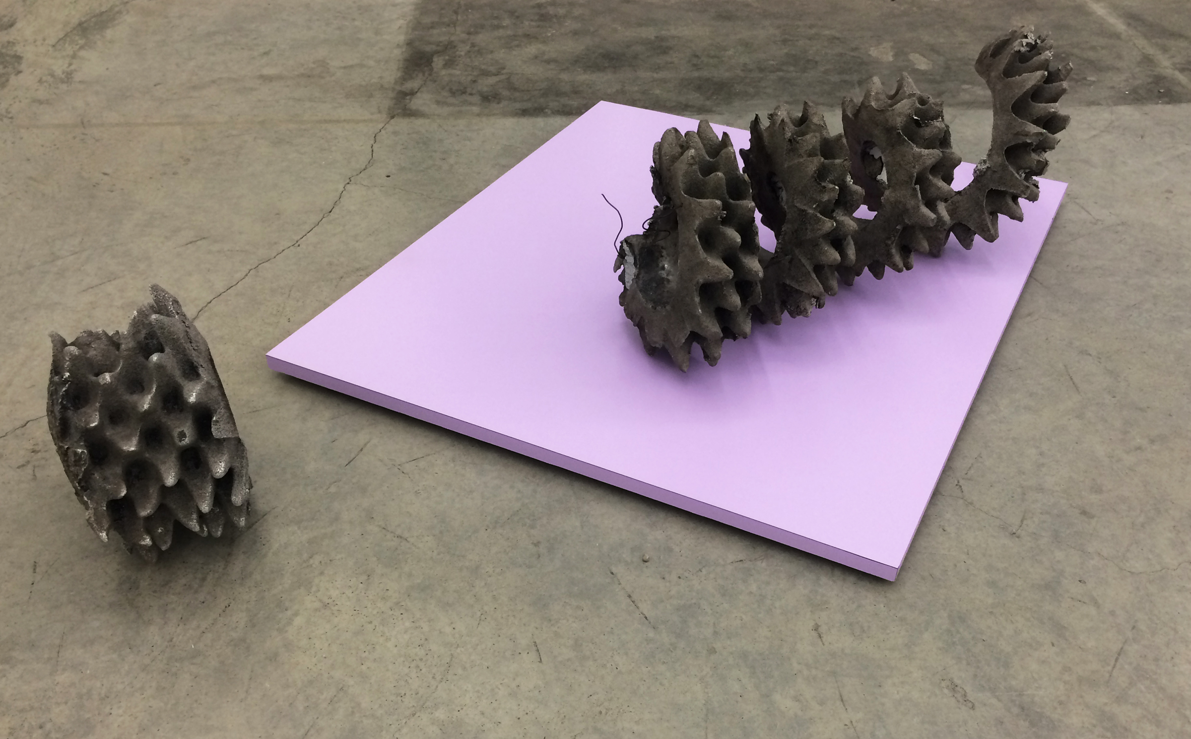 """NEVINE MAHMOUD   Ravel (in two parts) with Color Plane Lilac , 2015, cast aluminum, MDF, laminate, 37"""" x 31"""" x 12"""" and 10"""" x 10"""" x 6"""""""