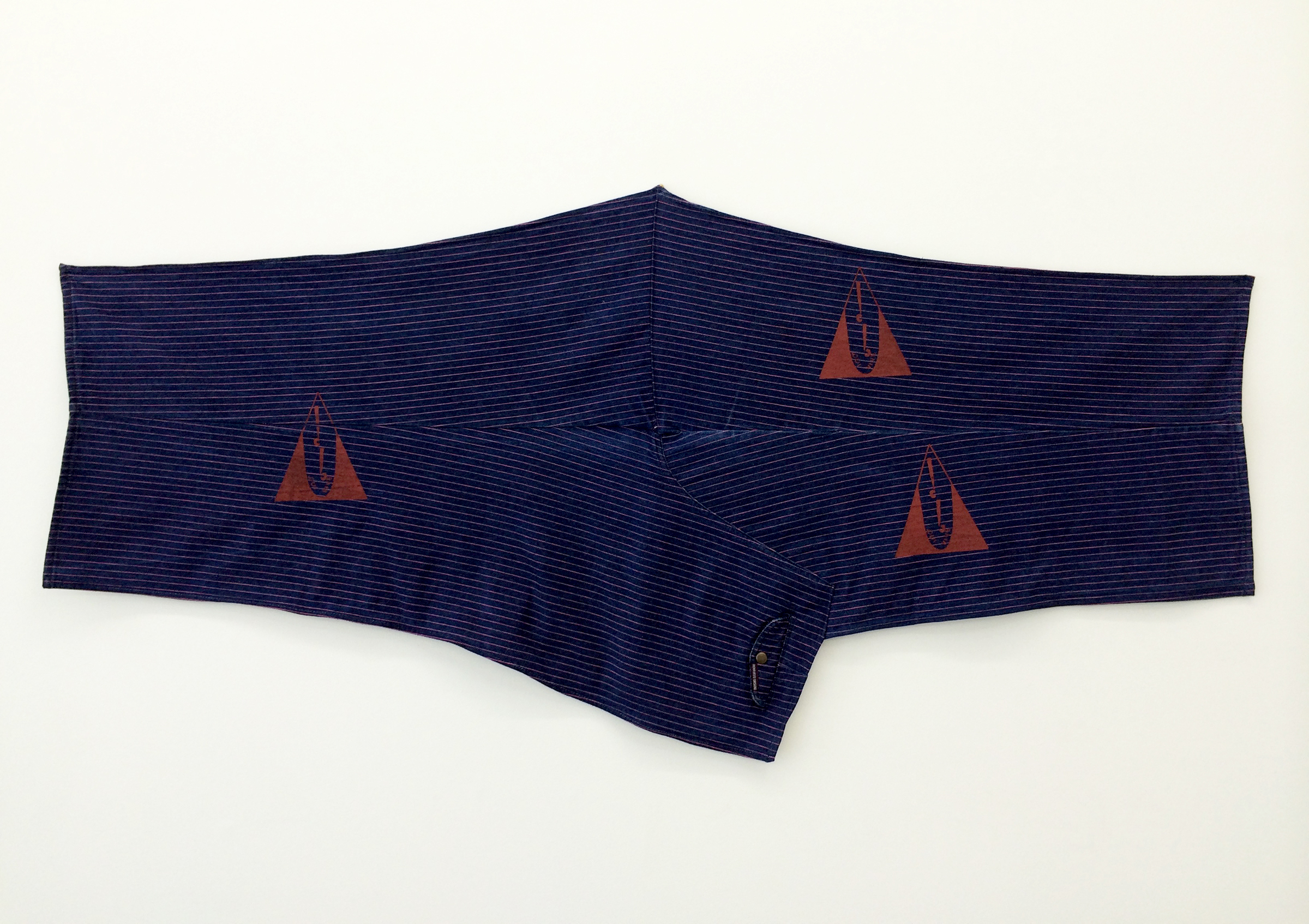 "AMANDA CURRERI  Qui Vive (Be Alert) , 2016, denim, vintage garment, acrylic, thread, 30"" x 60"""