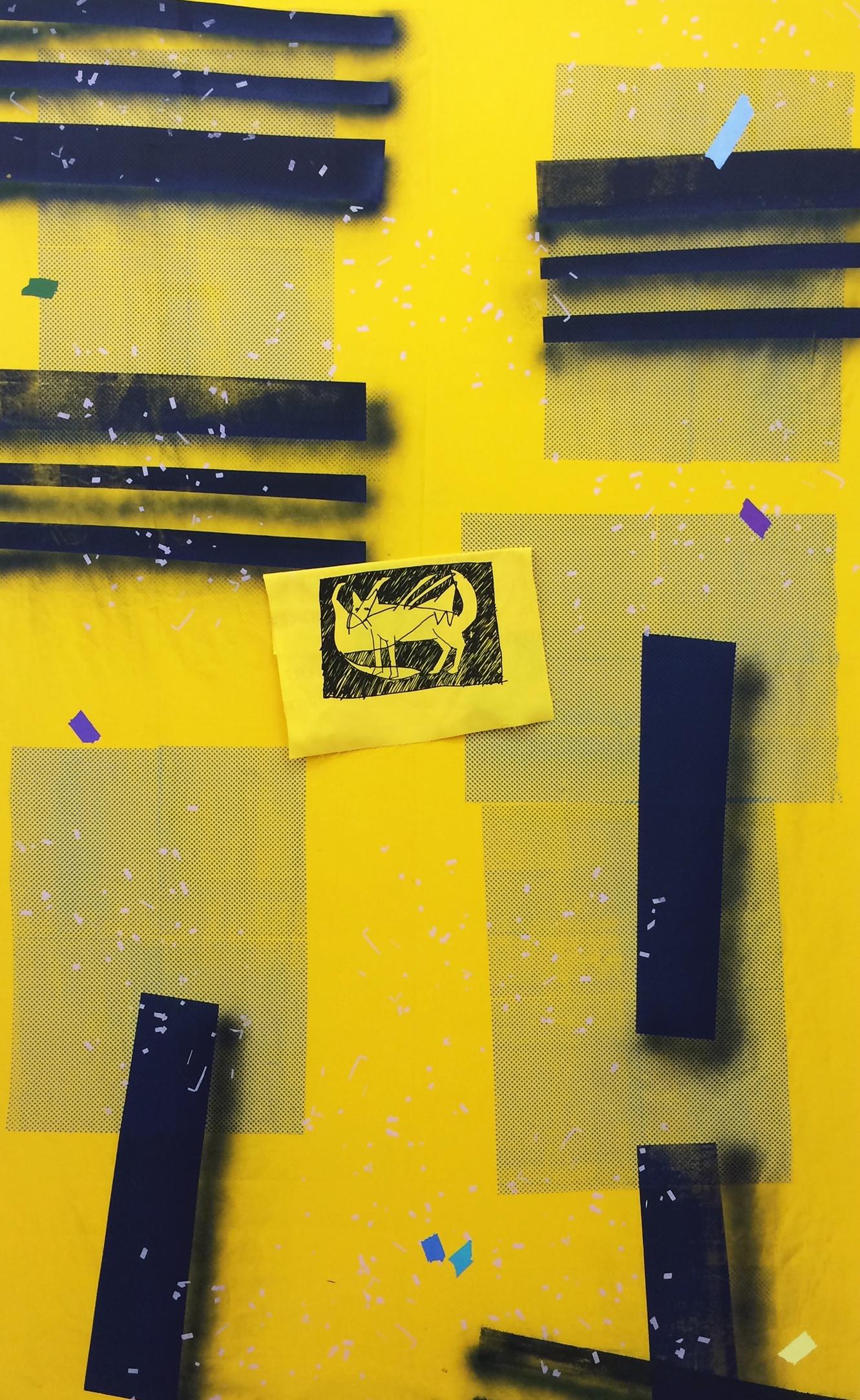 """AMANDA CURRERI  Eff (Yellow) , 2016, acrylic and fabric dye on cotton, 78"""" x 48"""""""