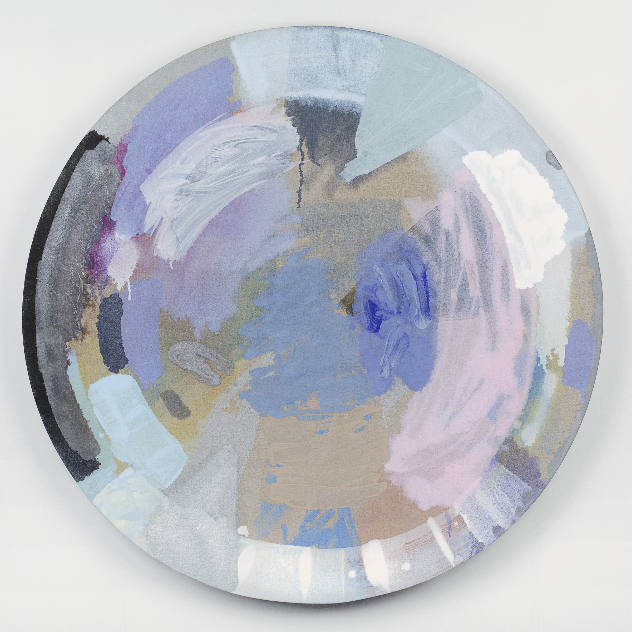 "PAMELA JORDEN   Lake , oil on linen 40"" diameter, 2014"