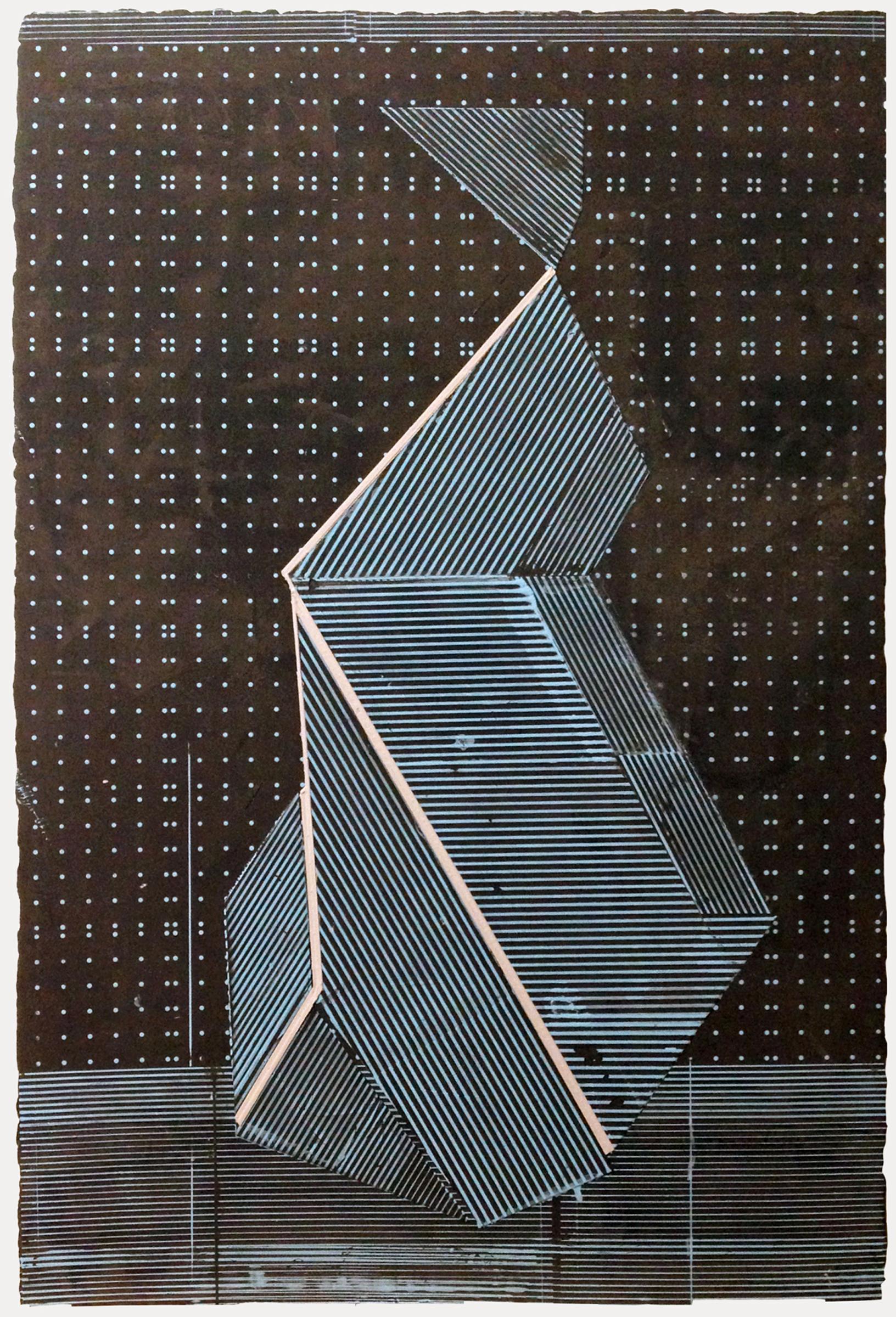 "ELISE FERGUSON   Blue Object , pigmented plaster on MDF panel, 36"" x 24"", 2014"